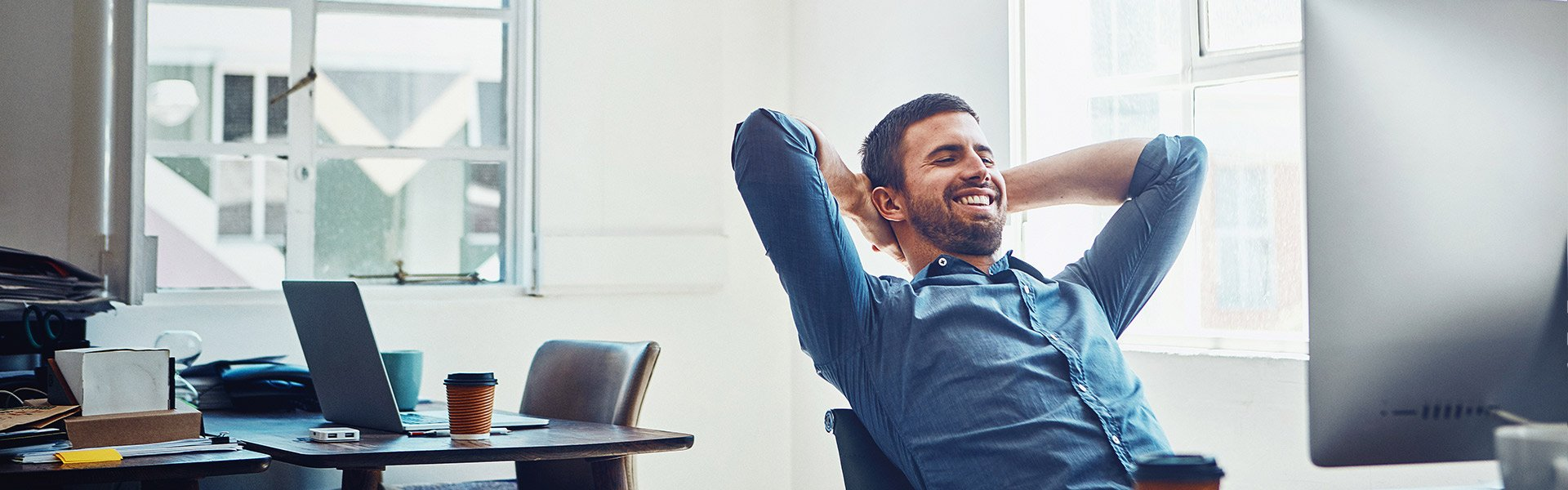 man enjoying job after career counselling