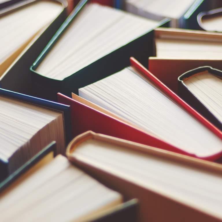 Many hardbound books background, selective focus